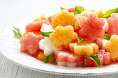 stock photo of melon  - Fruit salad with melon and watermelon - JPG