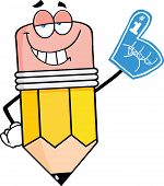 Smiling Pencil Character With Foam Finger
