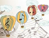 Music Vector Background With Air Balloons
