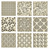 Set  of nine seamless vintage  patterns