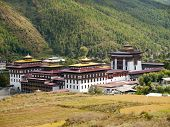 stock photo of buddhist  - Tashichhoedzong is a Buddhist monastery and fortress on the northern edge of the city of Thimpu in Bhutan - JPG