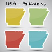 stickers in form of Arkansas state, USA