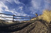 Man mountain biking on countryside path against fence and sky