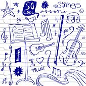 stock photo of triplets  - String Music Doodles - JPG