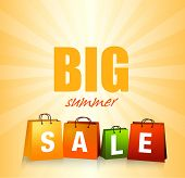 Summer sales background with colorful shopping bags.