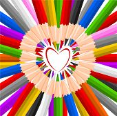 Heart Shaped Colorful Pencils