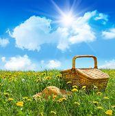 Постер, плакат: Летний пикник корзина с соломенной шляпе в поле