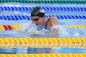 Jul 28 2009; Rome Italy; Rebecca Soni (USA) on her way to winning  the womens 100m breaststroke final at the 13th Fina World Aquatics Championships held in the The Foro Italico Swimming Complex.