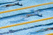 Jul 30 2009; Rome Italy; Nanaka Tamura (JPN) top, Rebecca Soni (USA) centre, and Mirna Jukic (AUT) bottom, competing in the  200m breastroke, at the 13th Fina World Aquatics Championships