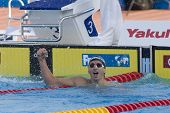 Jul 31 2009; Rome Italy; Aaron Piersol (USA) reacts after winning the mens 200m backstroke final, th