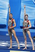 Jul 24 2009; Rome Italy; Olivia Allison and Jenna Randall (GBR) competing in the synchronised swimmi