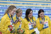 Jul 26 2009; Rome Italy; Team Australia bronze medalists in the 4 x 100m freestyle event  at the 13th Fina World Aquatics Championships held in the The Foro Italico Swimming Complex.