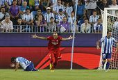 MALAGA, SPAIN. 19/09/2010. Mart�?�?�?�­n Caceres a Sevilla defender appeals for a penalty durin