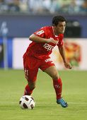 MALAGA, SPAIN. 19/09/2010. Lautaro Acosta a Sevilla midfield player in action during the La Liga mat