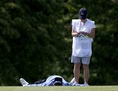 SAINT-OMER, FRANCE. 17-06-2010, Paul Eales (GBR) lays on the fairway on the 18th hole of the Europea