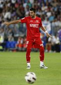 MALAGA, SPAIN. 19/09/2010. �lvaro Negredo a Sevilla forward player in action during the La Liga m