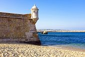 stock photo of bandeiras  - Medieval tower from Fortaleza da Ponta da Bandeira at Lagos - JPG