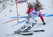 VAL GARDENA, ITALY 18 December 2009. Stephan Keppler (GER)  competing in the Audi FIS Alpine Skiing World Cup Super-G race on the Saslong course in the Dolomite mountain range.