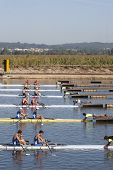 MONTEMOR-O-VELHO, PORTUGAL 10/09/2010. The teams line up to  compete in the men's Double Sculls at t