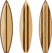 retro wooden surfboards