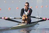 MONTEMOR-O-VELHO, PORTUGAL 10/09/2010. ANDRODIAS Matthieu (FRA) competing in the single sculls at  t
