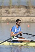 MONTEMOR-O-VELHO, PORTUGAL 10/09/2010.MOUGIOS Dimitrios (GRE) competing in the single sculls at the