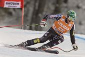 VAL GARDENA, ITALY 19 December 2009.  Bode Miller (USA) speeds down the course while competing in the Audi FIS Alpine Skiing World Cup Downhill race on the Saslong course