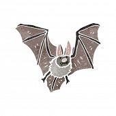 retro cartoon flying bat