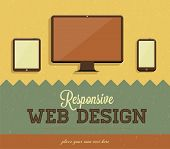 Responsive web design, vintage paper background design. Retro vector icons.