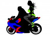 Vector drawing a girl in a bikini on a motorcycle. Property release is attached to the file