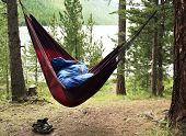 picture of sleeping bag  - Man sleeps in a hammock and in a sleeping bag early in the morning - JPG