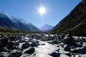 Mount Cook And Hooker River,new Zealand