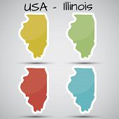 stickers in form of Illinois state, USA