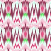 Colorful tie dye ethnic geometric fabric seamless pattern in pink and white, vector