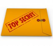 A yellow envelope with the stamped words Top Secret to illustrate that an important, confidential an