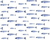 Blue Fish Shoal Seamless Pattern