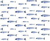 Blue Fish Shoal Seamless Pattern