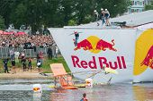MOSCOW - JULY 28: Competitors jump to water on Red Bull Flugtag on July 28, 2013 in Moscow. Red Bull