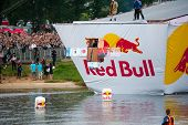 MOSCOW - JULY 28: Competitors perform a flight on Red Bull Flugtag on July 28, 2013 in Moscow. Red B