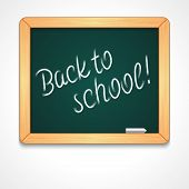 Back to school message on blackboard hand draw vector illustration