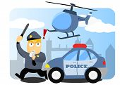 stock photo of chase  - a police chasing some criminal with car and helicopter - JPG