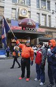 Unidentified Denver Broncos fans in the front of Macy s Herald Square on Broadway during Super Bowl