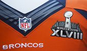 Denver Broncos team uniform with Super Bowl XLVIII logo presented during Super Bowl XLVIII week