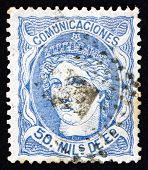 Postage Stamp Spain 1870 Allegory Of Hispania