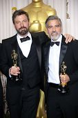 Ben Affleck and George Clooney at the 85th Annual Academy Awards Press Room, Dolby Theater, Hollywoo