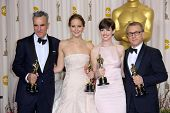 Daniel Day-Lewis, Jennifer Lawrence, Anne Hathaway and Christoph Waltz at the 85th Annual Academy Aw