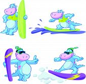 stock photo of watersports  - a vector image of a cute blue dino watersport set - JPG