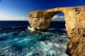 stock photo of gozo  - Azure window on Gozo during winter day - JPG