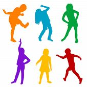 Set Of Colored Silhouettes Of Children Playing