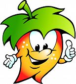 Hand-drawn Vector Illustration Of An Happy Fuit Vegetable Food Mascot